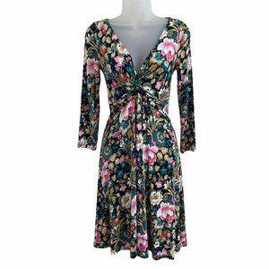Lilka XS A-line Dress Vneck Knot Front Floral